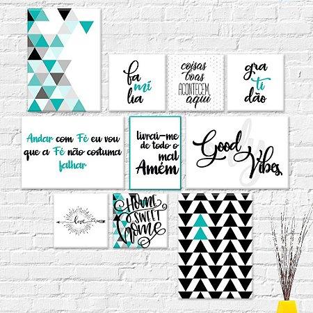 Kit Quadros Decorativos Abstrato Frases Turquesa