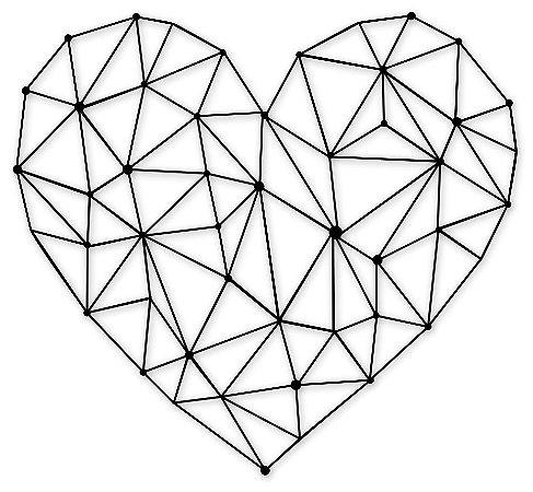 Aplique de Parede Coração Abstrato Geométrico