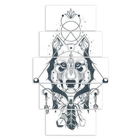 Quadros Decorativos Conjunto Lobo Indígena