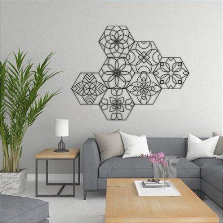 Kit Decoração Mosaico Mandalas + Presente (Palavra de Parede Gratidão)
