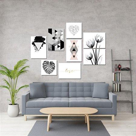 Kit Quadros Decorativos Decoração Nórdico Preto e Branco