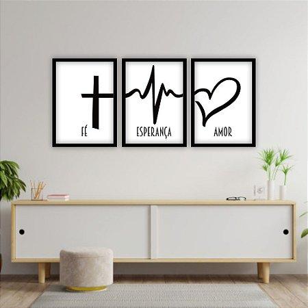Kit Quadros Decorativos Decoração Fé Esperança Amor
