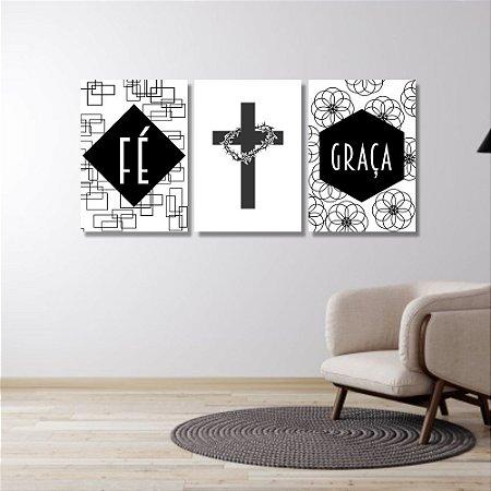 Kit Quadros Decorativos Decoração Fé Graça