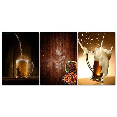 Kit Quadros Decorativos Decoração Bebida e Carne