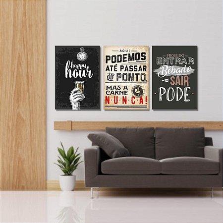 Kit Quadros Decorativos Decoração Frases Bebida