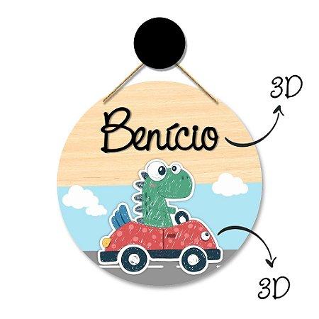 Flâmula Redonda Dinossauro 3D + Ganchinho Brinde