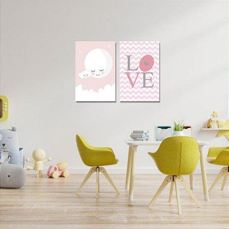 Kit Quadros Decorativos Decoração Infantil Lua Love