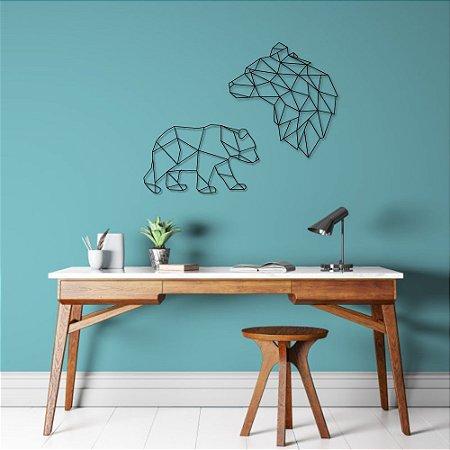 Escultura de Parede Ursos Geométricos
