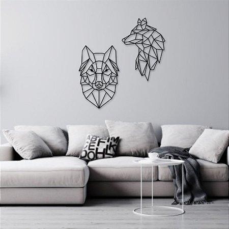 Escultura de Parede Lobos Geométricos