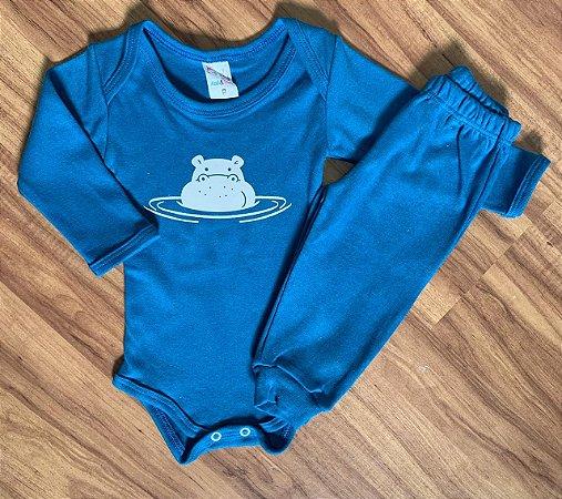 Body e Calça Azul Hipopótamo