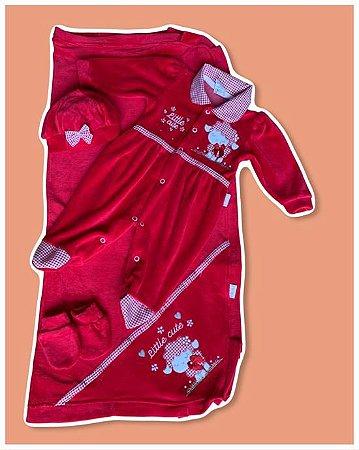 Saída Maternidade Macacão, Manta, Touca e Luva Plush Vermelho