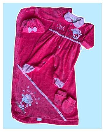 Saída Maternidade Macacão, Manta, Touca e Luva Plush Pink