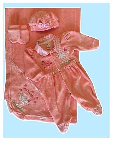 Saída Maternidade Macacão, Manta, Touca e Luva Plush Rosa Claro