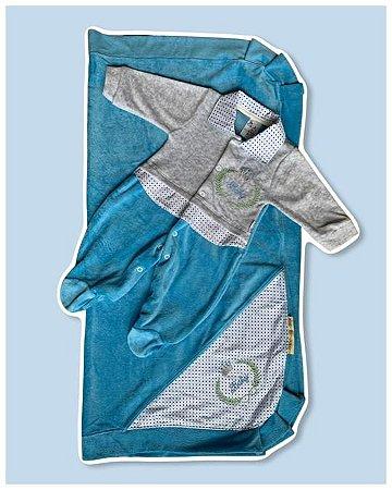 Saída Maternidade Macacão e Manta PLUSH Azul Claro