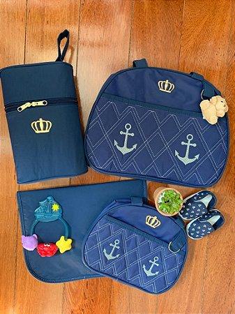 Kit Bolsa Maternidade Gold Azul Marinho