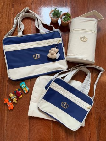 Kit Bolsa Maternidade Luxo Azul Marinho