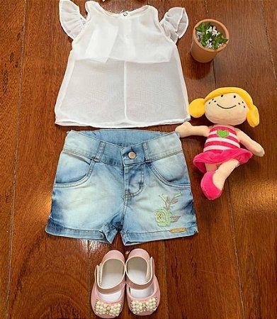 Conjunto Docinho Jeans e Branco 2 Pçs