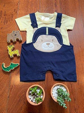 Jardineira Tigrinho Azul Marinho e Amarela 2Pçs