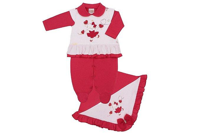 Saída Maternidade Gatinha Vermelha e Creme