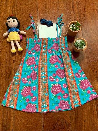 Vestido hippie de alça azul