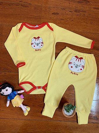 Conjunto Body e Calça Gatinha Amarelo