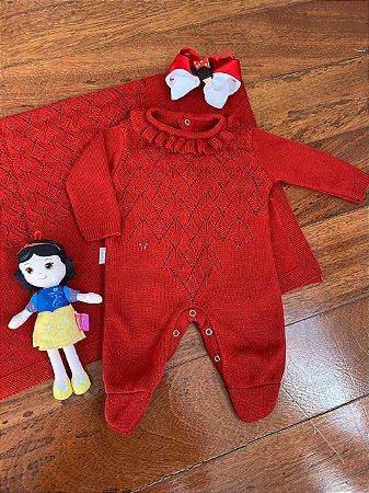 Saída Maternidade Macacão e Manta em Tricô Vermelho