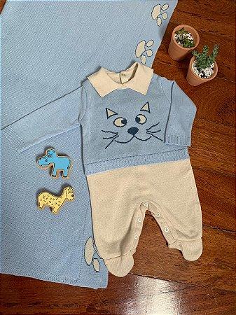 Saída Maternidade Macacão e Manta - Gato Azul