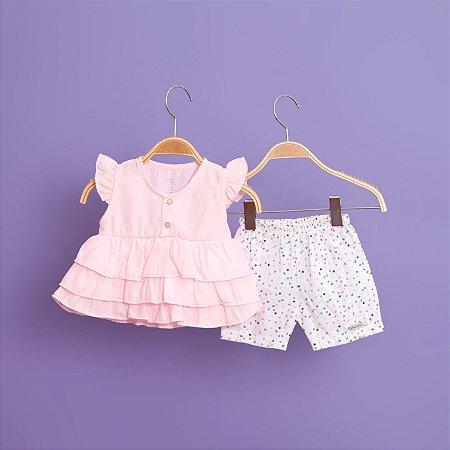 Conjunto com Bata e Shorts de Bolinhas Coloridas