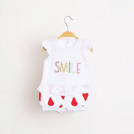 Macacão Curto Smile Pera Vermelho