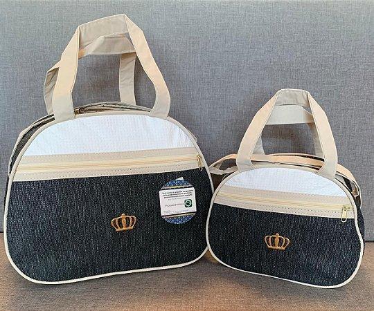 Kit Bolsa Maternidade Simple Jeans Escuro 2 peças