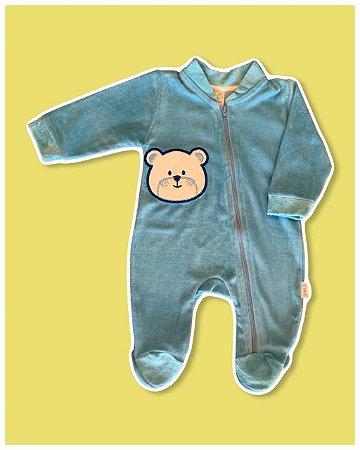 Macacão Longo em Plush com Zíper Urso Azul