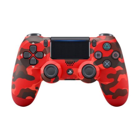 Controle Sony Dualshock 4 Red Camouflage sem fio (Com led frontal) - PS4