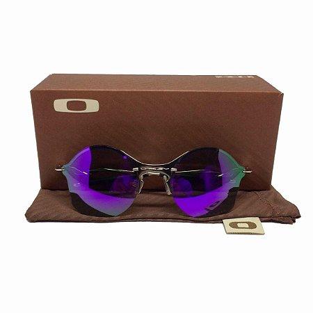 Oculos Oakley Tailend Prata Lente Roxa Replica