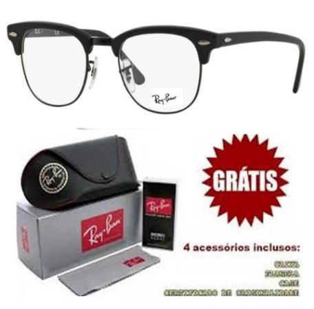 Armação Óculos De Grau Ray-Ban Clubmaster Feminino Masculino ... ce430628aa