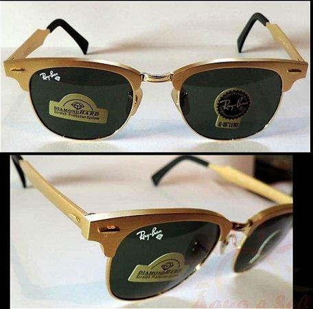 Óculos Ray ban Clubmaster Dourado