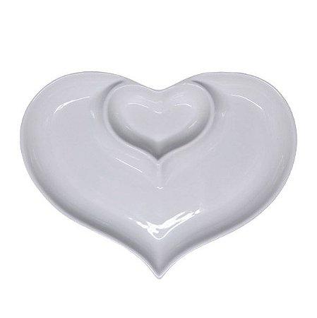 Petisqueira de Porcelana Coração Branco