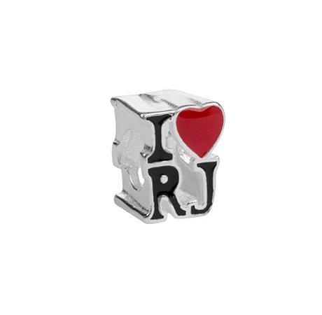 Berloque I Love RJ Banhado à Prata