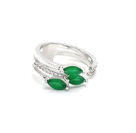 Anel Pedras Navetes Verde Esmeralda