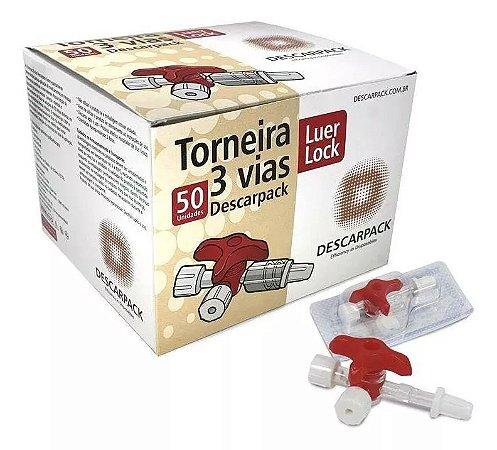 Torneira 3 vias Luer Lock Caixa 50 unidades