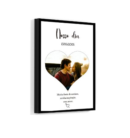 Quadro Personalizado Coração Casal 01 Com Sua Foto e Sua Frase