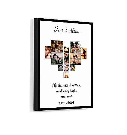 Quadro Personalizado Coração Casal 02 Com Sua Foto e Sua Frase
