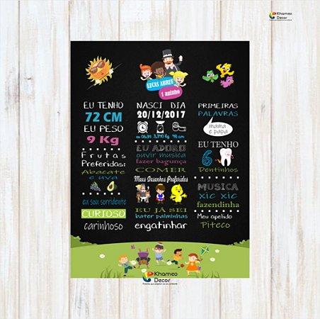 Placa Decorativas 1 Aninho com Dados Da Criança