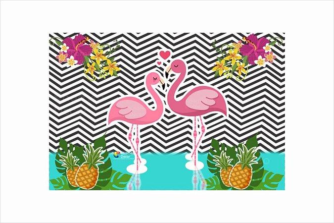 Painel De Festa Decoração Casal Flamingo Khameo
