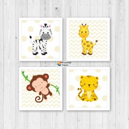 Kit 4 Quadros Decorativo Animais Infantil