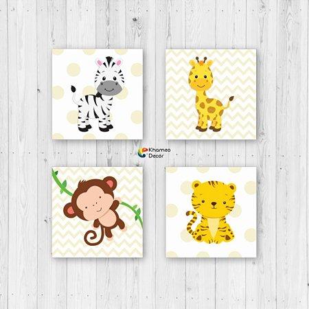 Kit 4 Placas Decorativas Animais Infantil