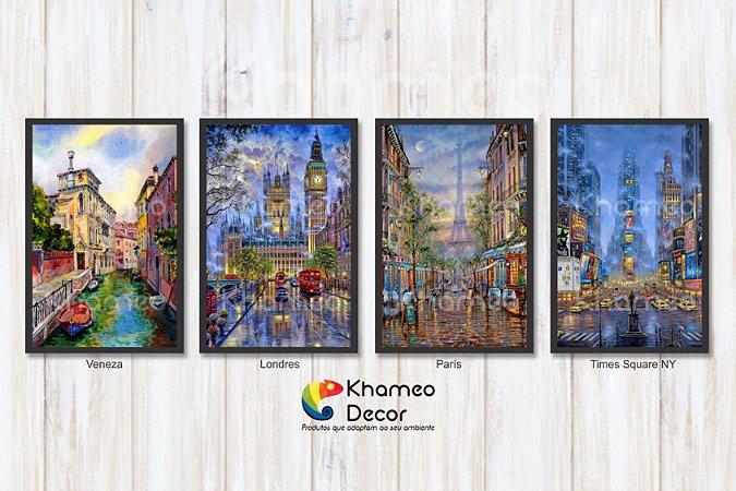 Kit 4 Quadros Decorativos Cidades Estilo Pintura