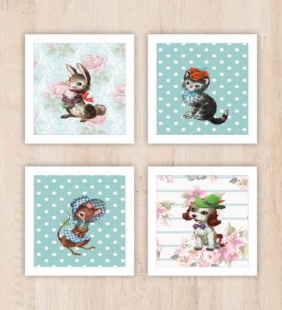 Kit 4 Quadros Decorativos Animais
