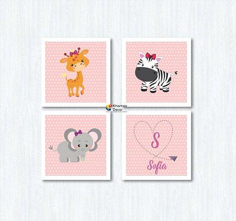 Kit 4 Quadros Decorativos Animais Com Nome da Criança