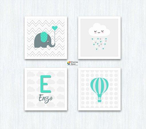 Kit 4 Quadros Elefante Balão Chuva de Amor Nome Da Criança