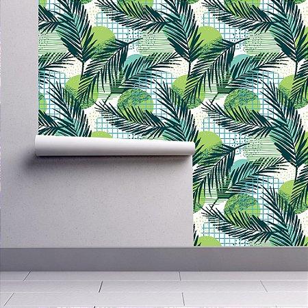 Papel De Parede Floral Folhagens Tropical 3m
